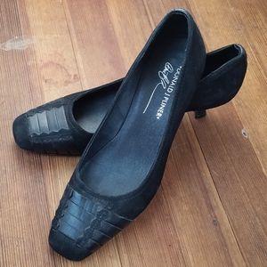 Donald J Pliner Black Suede Leather Heels Size 7